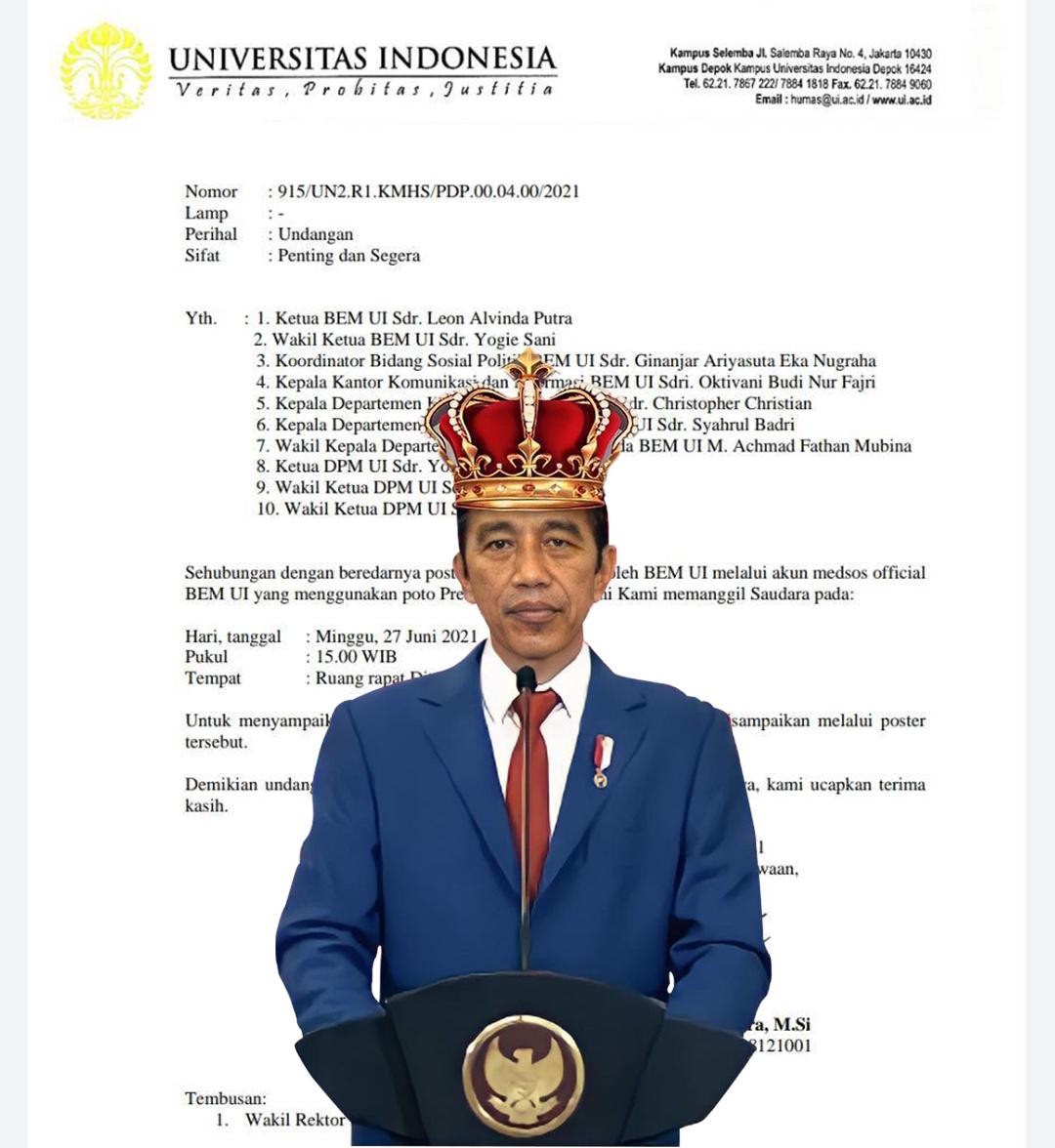 Imbas Kritik Jokowi, UI Panggil Fungsionaris BEM UI dan DPM UI
